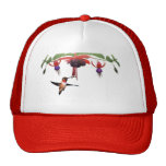 Fushia y colibrí gorros bordados