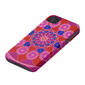 Fusia rose blue Pink Diamond Mandala iPhone 4 Case