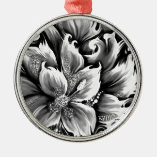 Fusión blanco y negro floral con acento del brillo adorno para reyes