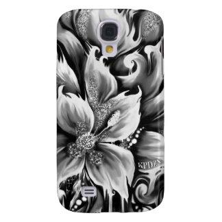 Fusión blanco y negro floral con acento del brillo funda para galaxy s4