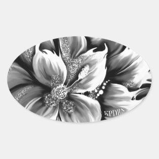 Fusión blanco y negro floral con acento del brillo pegatina ovalada