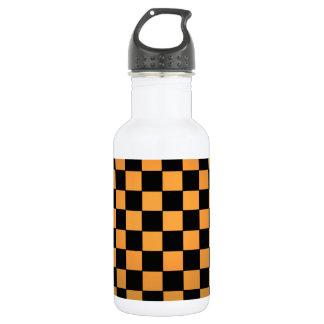 Fusion Checkerboard Gold White Black Mod Retro Water Bottle