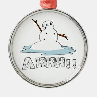 Fusión del muñeco de nieve adorno navideño redondo de metal