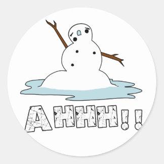 Fusión del muñeco de nieve pegatina redonda