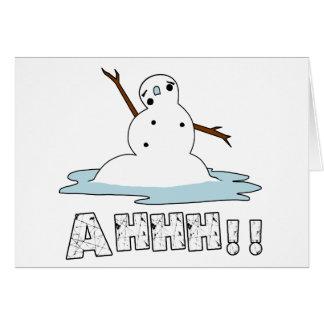 Fusión del muñeco de nieve tarjeta de felicitación