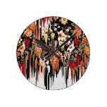 Fusión descendente libre floral reloj de pared