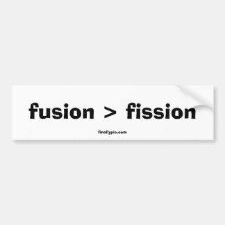 fusion > fission car bumper sticker