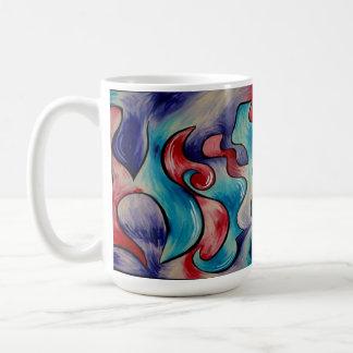 Fusión, taza de café abstracta del color