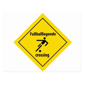 Fußballlegende crossing icon postcard
