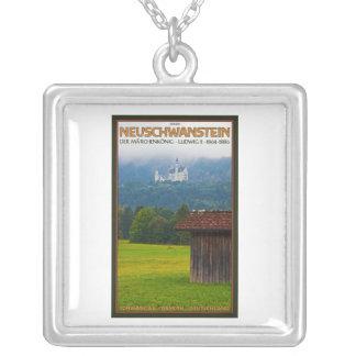 Füssen - Schloß Neuschwanstein from Afar Square Pendant Necklace