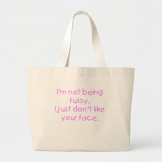 Fussy Face Girl Large Tote Bag