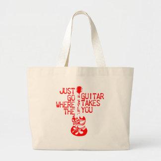 Fussy red guitar large tote bag