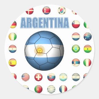Fútbol 0335 de la Argentina Pegatina Redonda