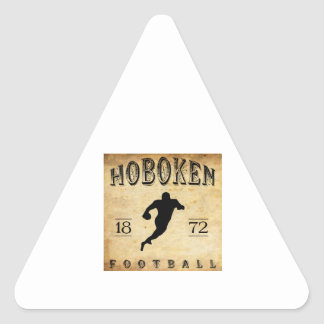 Fútbol 1872 de Hoboken New Jersey Pegatina Triangular