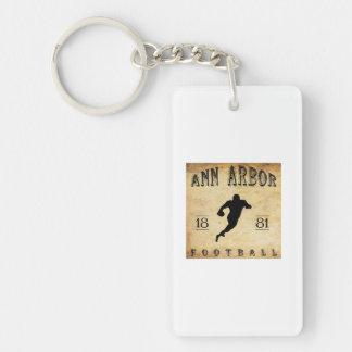 Fútbol 1881 de Ann Arbor Michigan Llavero Rectangular Acrílico A Doble Cara