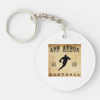 Fútbol 1881 de Ann Arbor Michigan Llavero Redondo Acrílico A Doble Cara