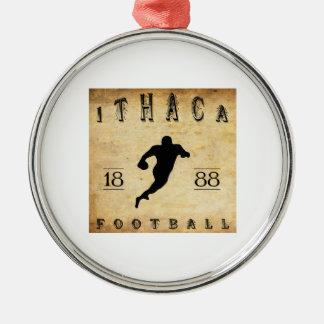 Fútbol 1888 de Ithaca Nueva York Adorno Redondo Plateado