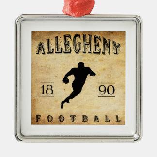 Fútbol 1890 de Allegheny Pennsylvania Adorno Navideño Cuadrado De Metal