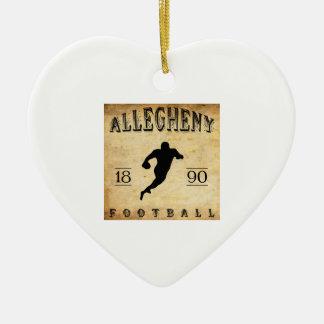 Fútbol 1890 de Allegheny Pennsylvania Adorno Navideño De Cerámica En Forma De Corazón