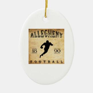 Fútbol 1890 de Allegheny Pennsylvania Adorno Navideño Ovalado De Cerámica