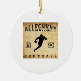 Fútbol 1890 de Allegheny Pennsylvania Adorno Navideño Redondo De Cerámica