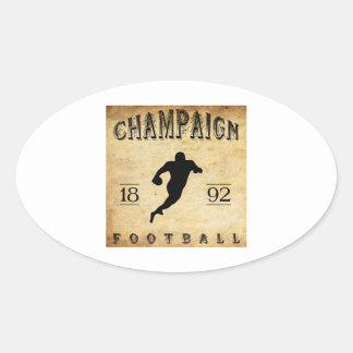 Fútbol 1892 de Illinois del chamán Pegatina Ovalada
