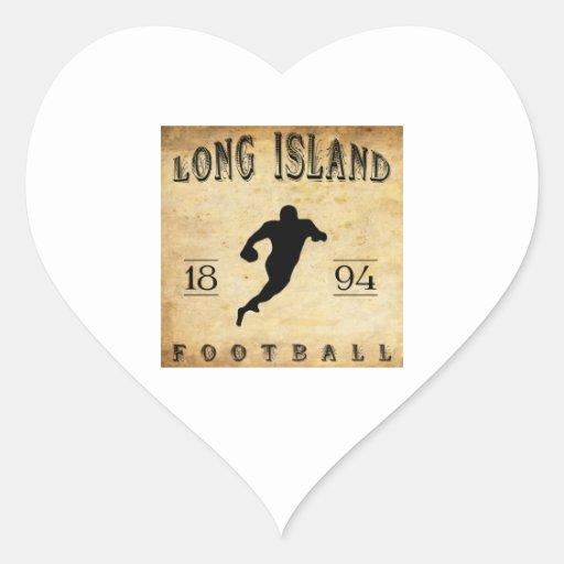 Fútbol 1894 de Long Island Nueva York Calcomanías Corazones Personalizadas