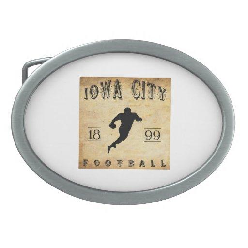 Fútbol 1899 de Iowa City Iowa Hebilla Cinturón Oval
