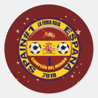 Futbol 2010 de Campeón del mundo España Pegatina Redonda
