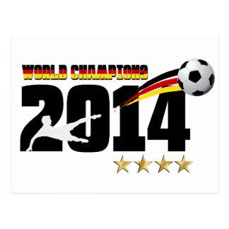 Fútbol 2014 del campeón del mundo de la bandera de postales