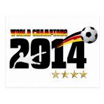 Fútbol 2014 del campeón del mundo de la bandera de postal