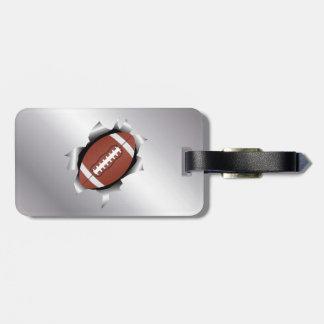 fútbol a través de la hoja de metal etiqueta de equipaje