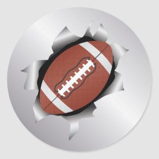 fútbol a través de la hoja de metal pegatina redonda