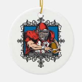 Fútbol agresivo adorno navideño redondo de cerámica