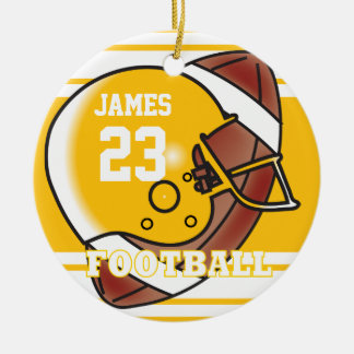 Fútbol amarillo y blanco de oro adorno navideño redondo de cerámica