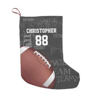 Fútbol americano personalizado de la pizarra calcetín navideño pequeño