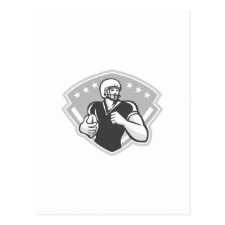 Fútbol americano que funciona con detrás Grayscale Tarjetas Postales