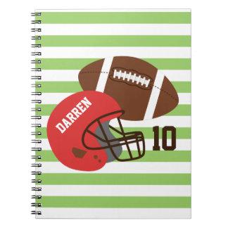 Fútbol americano y casco rojo spiral notebook