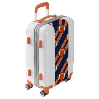 Fútbol anaranjado de la raya azul maletas