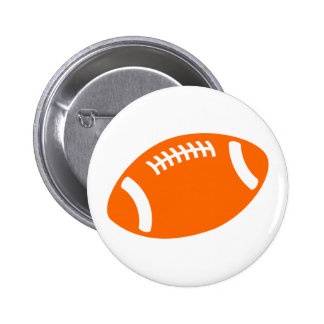 Fútbol anaranjado pin redondo de 2 pulgadas