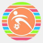 Fútbol; Arco iris de neón retro Pegatina Redonda