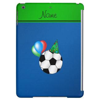 Fútbol azul conocido personalizado del cumpleaños