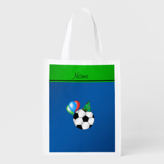 Fútbol azul conocido personalizado del cumpleaños bolsa para la compra
