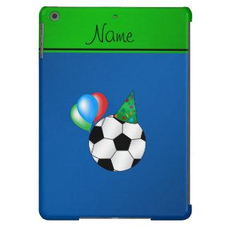 Fútbol azul conocido personalizado del cumpleaños funda para iPad air