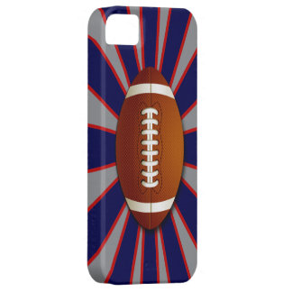 Fútbol azul, rojo y de plata iPhone 5 cárcasas