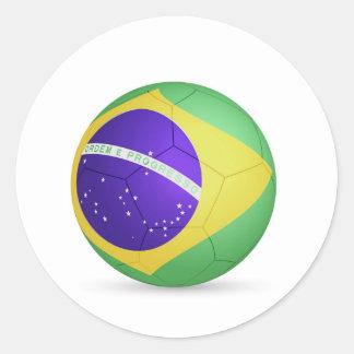 fútbol ball.jpg del Brasil Pegatina Redonda