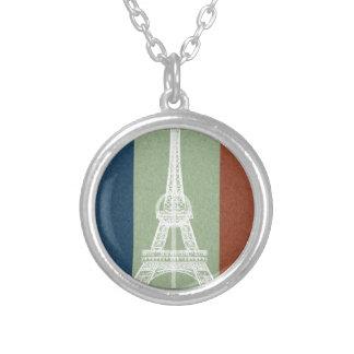 Fútbol-Bandera de Francia Collar Plateado