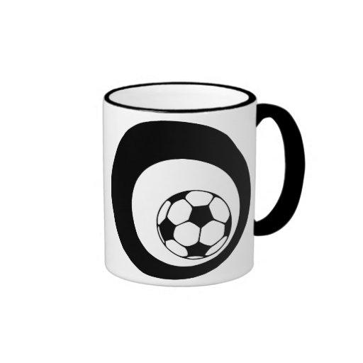 futbol. black circles. ringer coffee mug