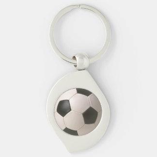 fútbol blanco negro de 3D Soccerball Llavero Plateado En Forma De Espiral