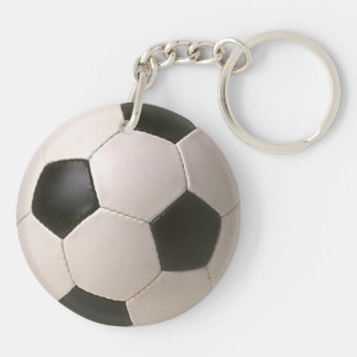fútbol blanco negro de 3D Soccerball Llavero Redondo Acrílico A Doble Cara